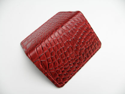 4702adc6a7c2 Minimalist RFID Wallet Leather Crocodile Embossed Dark Red 3 Pocket